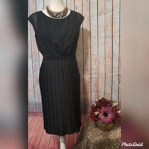 Sleek Pleated Black Dress sz 6